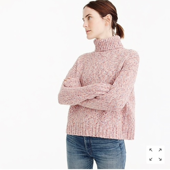 f8147e0697ab85 J.crew marled wool turtleneck sweater in pink. M 5b79b5ee7c979dcfaedce3f8